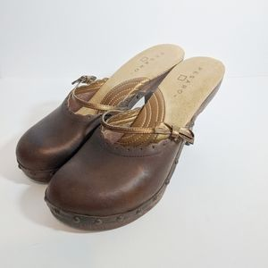 Pesaro clog leather heels with bow brown size 7